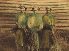 Flax rippers, Belarus, early 20th century. Hand coloured vintage photograph