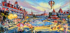 Disneyland Paris: early concept for the Disneyland Hotel's pool area, with the Disneyland Railroad passing through