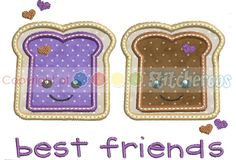 PB and J BFF applique set- comes in 3 sizes $3.99