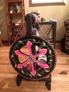 Hand painted spinning wheel
