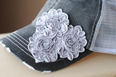 Womens Trucker Hat Gray Mesh and Shabby Swirl by Ebowsboutique, $27.00