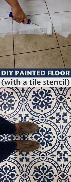 How to Paint and update your tile floors! -- A list of some of the best home remodeling ideas on a budget. Easy DIY, cheap and quick updates for your kitchen, living room, bedrooms and bathrooms to help sell your house! Lots of before and after photos to #remodelingyourkitchen #remodelingtips #kitchenremodelingonabudgetideas #kitchenremodelingbeforeandafter #bathroomremodelingonabudgetideas