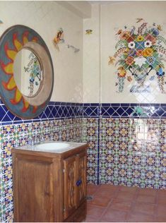 our lady virgen de guadalupe mexican tile mural, mexican home