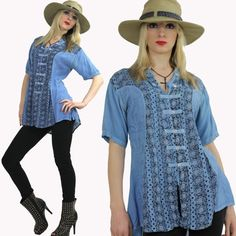 Vintage Hippie Boho Embroidered Blouse Shirt by SHABBYBABEVINTAGE, $35.00