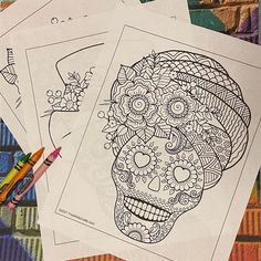 Sugar skulls are created for the Mexican tradition of Día de Muertos or Day of the Dead which falls on the day after Halloween to honor those who have died. In some American churches it is called All Saints Day. The coloring pages below offer some fun images to color (usually with bright colors) as well as a blank skull for you to create your own pattern. In Mexico these skulls are usually formed out of sugar or clay. #printable #coloringpages #sugarskulls #diademuertos #dayofthedead #mexico Multicultural Crafts, Skull Coloring Pages, All Saints Day, To Color, Day Of The Dead, Sugar Skull, Some Fun, Teaching Kids, Day Of Dead