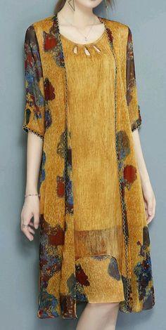 Shop Midi Dresses - Women Yellow Plus Size Chiffon Floral Two Piece Midi Dress o. - Plus Size Women's Dresses, Casual Dresses, Casual Outfits, Chiffon Dresses, Loose Dresses, Shift Dresses, Pageant Dresses, Pretty Dresses, Casual Wear