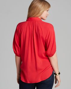 Love the Draping! Karen Kane Red Blouson Sleeve Button  Top  #Karen_Kane #Red #Fashion #Bloomingdales