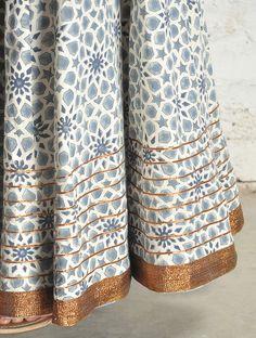 Ecru-Blue Block Print Kalidar Cotton Skirt - Free Size Bridal Pants, Indian Block Print, Ribbon Skirts, Blue Block, Creative Textiles, Cute Pants, Cotton Skirt, Printed Skirts, Indian Dresses