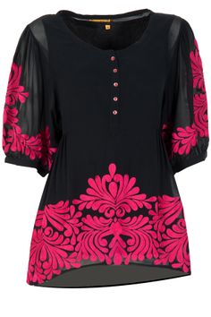 Black georgette embroidered top available only at Pernia's Pop-Up Shop.
