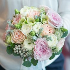 Trendy Wedding bouquet FLORIMI - David Austin Miranda, ranunculus, anemone, brunia.