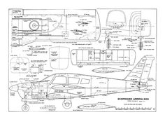 Cherokee Arrow 200 by Don Condon from Flying Models 1974 - plan thumbnail Piper Aircraft, Airplane Drawing, Rc Model, Model Airplanes, Cutaway, Designs To Draw, Scale Models, Hobbies, How To Plan