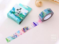 Japanese landscape Washi Tape  Train por SakuraSuppliesShop en Etsy