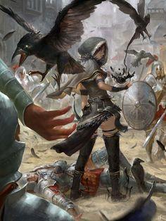 Female conjurer making crows or ravens. It's magic!