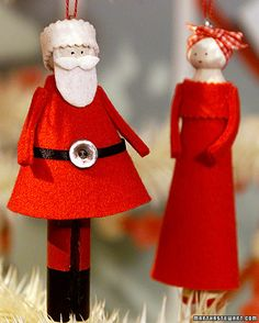 Clothespin Doll Ornaments    These playful doll ornaments are created from old-fashioned wooden clothespins.    How to Make the Clothespin Doll Ornaments