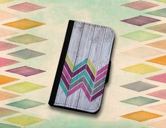 Colorful Chevron Pattern on Faux Wood Texture Wallet Case. Choose iPhone 4//4s or 5//5s, Samsung Galaxy S3 or S4., $22.00