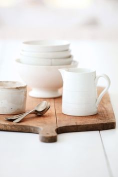 Simple white dishes on the french cheese board (from Dreamy Whites)
