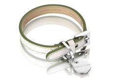 Hennessy & Sons Polo Club Leather White and Green Dog Collar