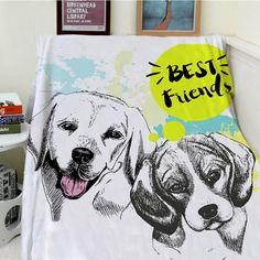 Blankets Cobertor Warmth Soft Plush Cute Cartoon Dog Best Friends Art Hand Painted Sofa Bed Throw a Blanket Thick Thin Plaid
