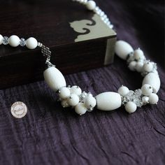 White Turquoise necklace with Freshwater Pearl Necklace turquoise necklace white stone by peafair. Explore more products on http://peafair.etsy.com