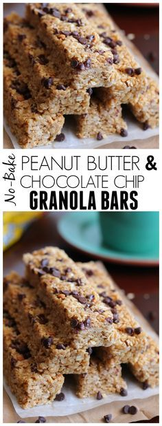 Super sweet and mine had a little trouble staying together but with adjustment a very good recipe and taste. These Peanut Butter and Chocolate Chip Granola Bars are no bake and so incredible chewy and soft! Way better than store bought! Granola Bars Peanut Butter, Chocolate Chip Granola Bars, Dairy Free Granola Bars, No Bake Granola Bars, Chewy Granola Bars, Chocolate Chips, Yummy Treats, Delicious Desserts, Cocina Light