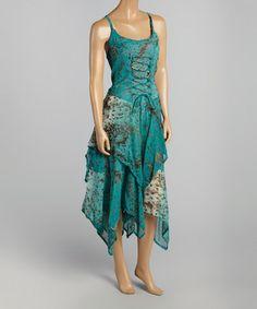 Another great find on #zulily! Turq Zigzag Handkerchief Dress #zulilyfinds