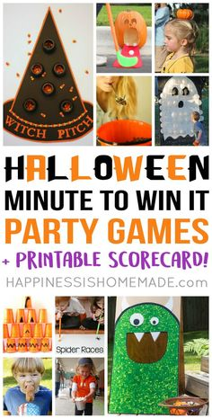 Minute to Win It Halloween Games - host the best Halloween party ever with these fun Halloween party games for kids! : Minute to Win It Halloween Games - host the best Halloween party ever with these fun Halloween party games for kids! Halloween Tags, Halloween Class Party, Halloween Activities For Kids, Halloween Designs, Kids Party Games, Halloween Birthday, Holidays Halloween, Halloween Crafts, Halloween Games For Adults