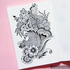 Design by LinesInAir on DeviantArt Doodle Art Drawing, Zentangle Drawings, Mandala Drawing, Zentangles, Mehndi Designs Book, Mehndi Design Images, Art Drawings Sketches Simple, Pencil Art Drawings, Henna Patterns