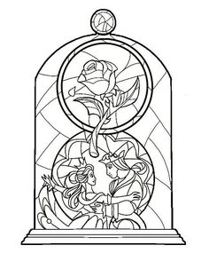 Diy Beauty And The Beast, Beauty And The Beast Tattoos, Beauty And The Beast Silhouette, Disney Tattoos, Disney Thigh Tattoo, Halloween Colouring Pages, Disney Coloring Pages, Adult Coloring Pages, Coloring Sheets