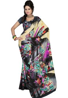 Infuse your hidden glamour by wrapping this stunning attire with beautiful prints & eye catchy color touch