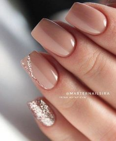 Nude Short Glitter Accent Finger nail Matte Shiny Acrylic Coffin Long Nail Ideas Manicure - French tip - Square shaped long nails - cute summer fall spring fingernails - gel nails - shellac -