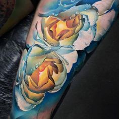 blue and pink with water droplets tattoo Colorful Rose Tattoos, Coloured Rose Tattoo, Tribal Rose Tattoos, Purple Rose Tattoos, Flower Tattoos, Rose Chest Tattoo, Rose Tattoo On Back, Finger Rose Tattoo, Rose Tattoo Forearm
