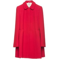 Coat (38,915 MXN) ❤ liked on Polyvore featuring outerwear, coats, jackets, coats & jackets, women, fitted coat, red coat, woolen coat, fitted wool coat e miu miu coat