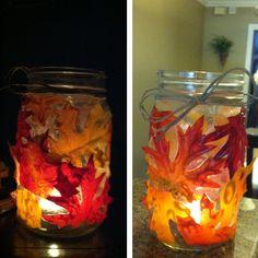 Modge podged leaves onto a mason jar, perfect for fall deco leaves .99 @Michael Sullivan
