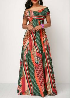 Off the Shoulder Shirred Detail Printed Maxi Dress Long African Dresses, Latest African Fashion Dresses, African Print Dresses, African Print Fashion, Chitenge Dresses, Ankara Stil, Formal Dresses For Women, Casual Dresses, African Attire
