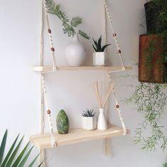 Macrame Art, Macrame Design, Macrame Projects, Macrame Knots, Macrame Mirror, Macrame Curtain, Diy Para A Casa, Diy Hanging Shelves, Floating Shelves