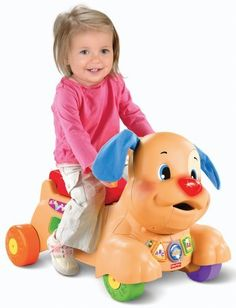 Fisher-Price Laugh and Learn Stride-to-Ride Puppy by Fisher-Price. $44.97. Amazon.com                The Fisher-Price Laugh & Learn Stride-to-Ride Puppy is your guide on the ride to learning! Whether your baby is sitting, walking, or riding, the Stride-to-Ride Puppy is full of rewarding music, lights, and playtime excitement! The Stride-to-Ride Puppy offers more than 50 songs, tunes, and phrases that teach your baby all about letters, numbers, colors, shapes, ...
