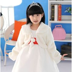 Ivory White Pink Faux Fur #Winterwedding #Flowergirl Girls #Bolerojacket SKU-10503040