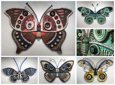 Michelle Stitzlein creates found object art &sculpture from recycled materials, including piano keys, broken china vases, license plates, rusty tin cans