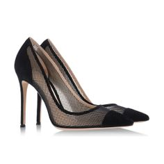 Gianvito Rossi mesh pointy-toed black pumps