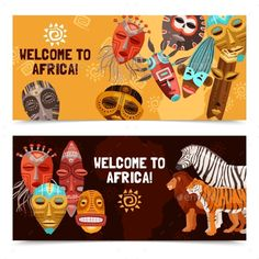 African Ethnic Tribal Masks Banners by macrovector Colorful horizontal banners with african ethnic tribal ritual masks and wild animals isolated on white background vector illustrat