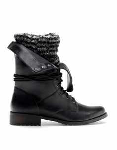 Bershka Turkey - BSK removable sock effect lace-up ankle boots