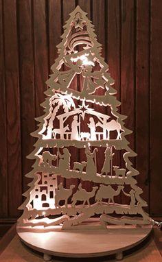 "Lite Tree or ""Schwibbogen"", German stile Christmas window/table decoration, tall, hand cut on a scrollsaw. Christmas Wood Crafts, Christmas Nativity Scene, Wooden Christmas Trees, Nativity Crafts, Christmas Svg, Christmas Projects, Christmas Decorations, Xmas, Christmas Ornaments"