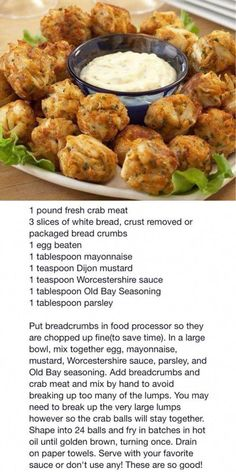 Frugal Food Items - How To Prepare Dinner And Luxuriate In Delightful Meals Without Having Shelling Out A Fortune Crispy Crab Nuggets Crab Cake Recipes, Fish Recipes, Seafood Recipes, Cooking Recipes, Recipies, Keto Recipes, Crab Dishes, Seafood Dishes, Seafood Paella