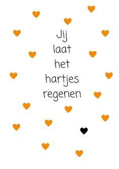 jij laat het hartjes regenen oker/oranje met zwart hartje A4