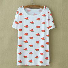 Primavera as mulheres melancia impresso T camisas soltas de manga curta t-shirt Harajuku estilo Fruit impresso Casual menina camiseta Tops(China (Mainland))