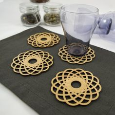 Birch Wooden Coasters Various Designs Laser Cut Set of 4 Original Design, Wooden Coasters, Cleaning Wipes, Birch, Weaving, Fancy, Rustic, The Originals, Gifts