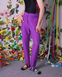 90s purple skinny pants high waist rise pants vintage retro | Etsy Purple Skinny Pants, Vintage Shops, Retro Vintage, Pastel Purple, Girl Backpacks, Slim Pants, Kawaii Fashion, Piece Of Clothing, High Waist