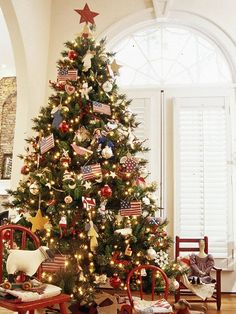 American Pride Christmas Tree:   Let your true colors show by decorating your Christmas tree in patriotic red, white, and blue. The all-American look adapts well to December or July!  Editor's Lights Tip: Watch ads closely for the best sales on Christmas lights as it gets closer to tree decorating time, and be open to where you shop for Christmas lights -- the hardware store, grocery store, and crafts store are all good places to get your lights.