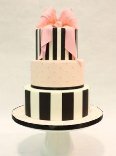 Black White pink peach fondant stripe bow tiered Wedding Birthday cake from I Do! Wedding Cakes Toronto
