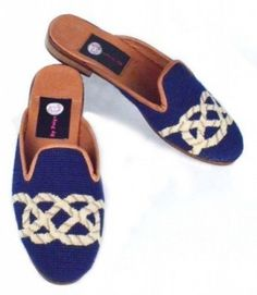 Knot on Navy Needlepoint Mules-Woman's Nautical Favors, Nautical Knots, Needlepoint, Fall Outfits, Slippers, Flats, Navy, How To Wear, Butterfly